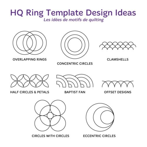 "Handi Quilter Ruler - HQ Ring Templates GOLD SET (2"", 3"", 4"", 5"", 6"", 7"", 8"", 9"" et 11"")"