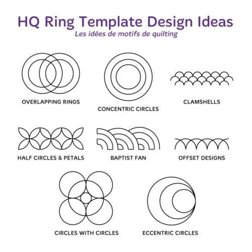 "Handi Quilter Ruler - HQ Ring Templates SILVER SET (1,5"", 2,5"", 3,5"", 4,5"", 5,5"", 6,5"", 7,5"", 8,5"" et 10,5"")"